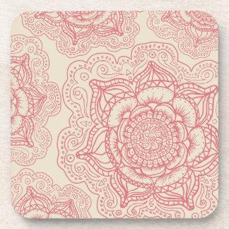 Pink Mandala Pattern Beverage Coaster