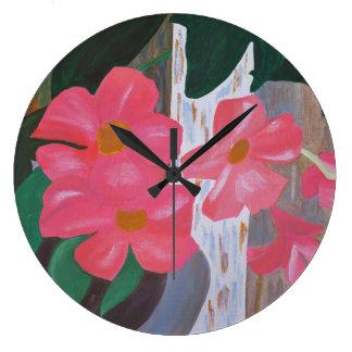 Pink Mandevilla Clock