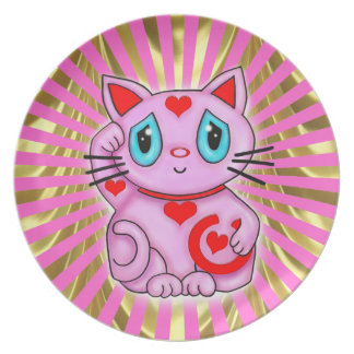 Pink Maneki Good Luck Cat by Dreamlyn Plate