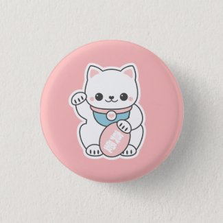 Pink Maneki Neko Button