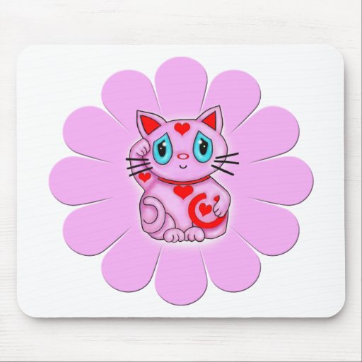 Pink Maneki Neko Lucky Beckoning Cat Mouse Pad
