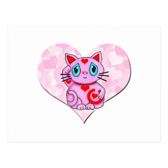 Pink Maneki Neko With Pink Heart Postcard