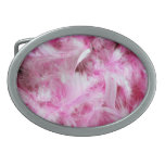 Pink Marabou Feathers Oval Belt Buckles