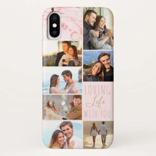 Pink Marble 7 Photo Collage - Loving Life with You Phone Case