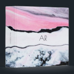 """Pink Marble Binder<br><div class=""""desc"""">This stylish binder features a pink and black marble pattern and can be personalized with a name and monogram initials. Simple and chic.</div>"""