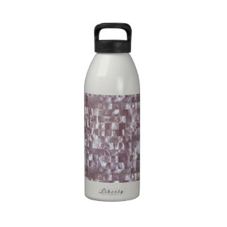 Pink Marble Cube Mother of Pearl Pearlescent Tile Water Bottle