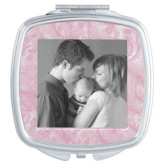 Pink Marble Custom Photo Compact Mirror