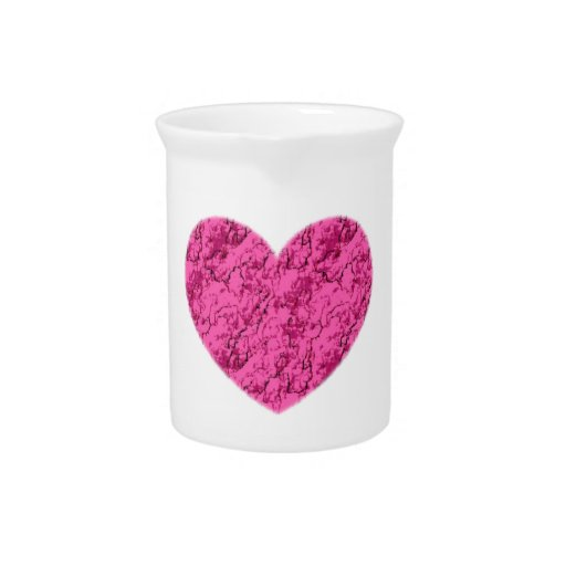 Pink Marble Heart Beverage Pitchers