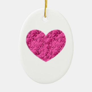 Pink Marble Heart Ceramic Ornament