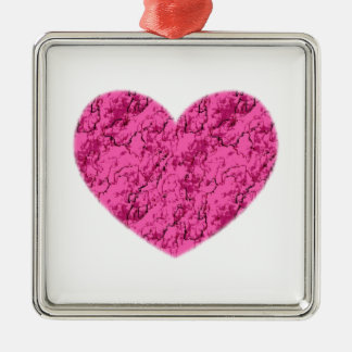 Pink Marble Heart Metal Ornament