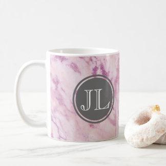 Pink Marble Monogram With Gray Circle Motif Coffee Mug