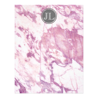 Pink Marble Monogram With Gray Circle Motif Letterhead