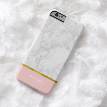 heartlocked Pink Marble Pattern and Faux Gold Foil Barely There iPhone 6 Case