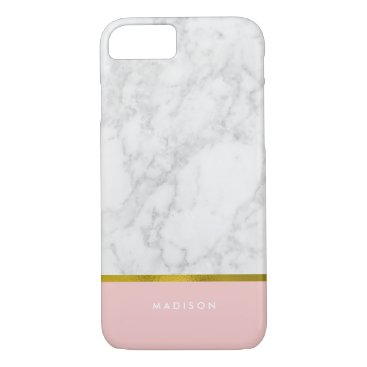 heartlocked Pink Marble Pattern and Faux Gold Foil iPhone 7 Case
