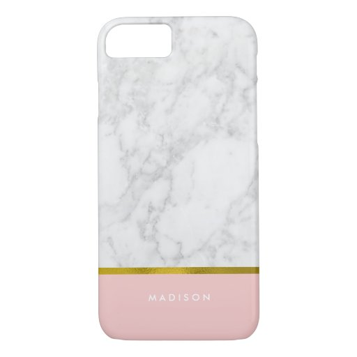 Pink Marble Pattern and Faux Gold Foil iPhone 7 Case : Zazzle