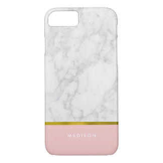 Pink Marble Pattern and Faux Gold Foil iPhone 8/7 Case