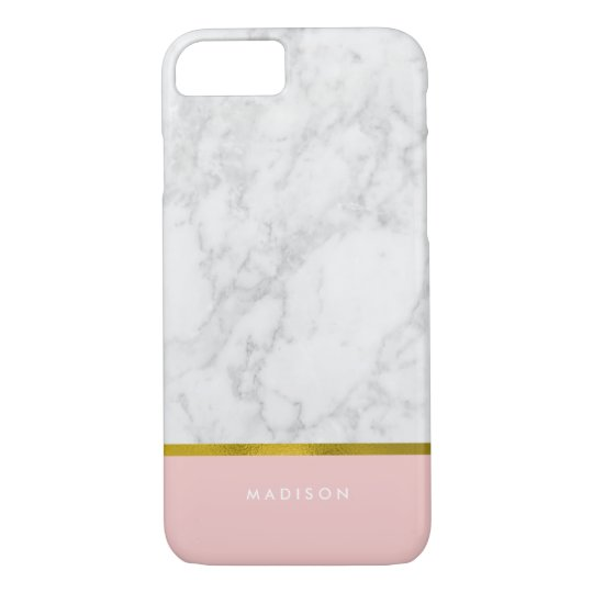 Pink Marble Pattern And Faux Gold Foil IPhone 8 7 Case