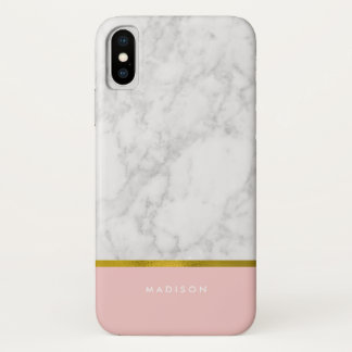 Pink Marble Pattern and Faux Gold Foil iPhone X Case