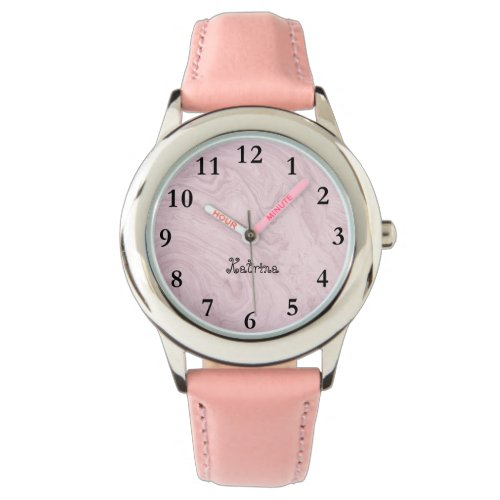 Pink Marble Personalized Name Girl Watch