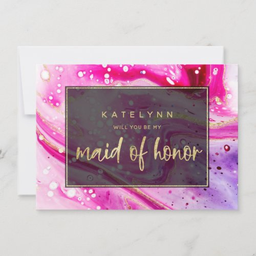 Pink Marble Will You Be My Maid of Honor Card