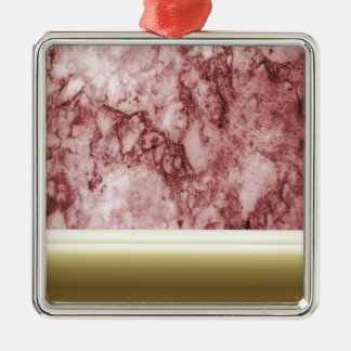 Pink Marble with golden stripes Metal Ornament