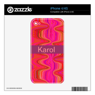 Pink Marbled Abstract Pattern Modern Custom Name iPhone 4 Skins