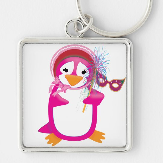 Pink Mardi Gras Penguin Keychain
