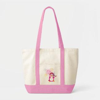 Pink Mardi Gras Penguin With Fireworks Bag