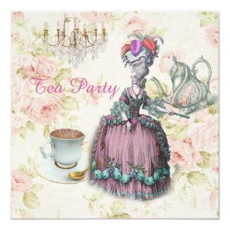 pink Marie Antoinette vintage paris tea party Card