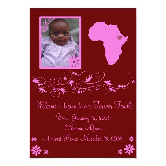 Pink/Maroon Ethiopian Adoption Announcement Card