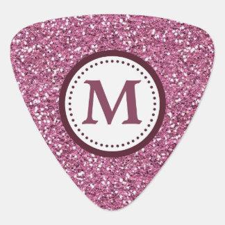 Pink Maroon Faux Glitter Monogram Guitar Pick