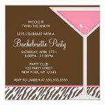 Pink Martini and Brown Zebra Pattern 5.25x5.25 Square Paper Invitation Card