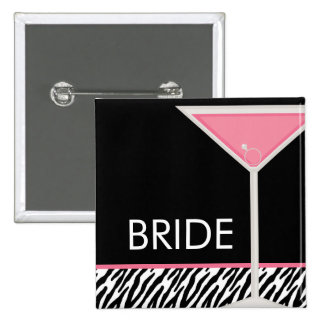 Pink Martini and Zebra Pattern Pinback Button