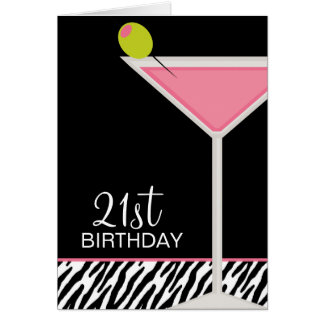 Pink Martini and Zebra Pattern Greeting Card
