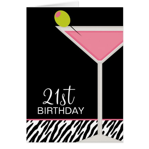 Pink Martini and Zebra Pattern Greeting Card