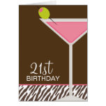 Pink Martini and Zebra Pattern Greeting Cards