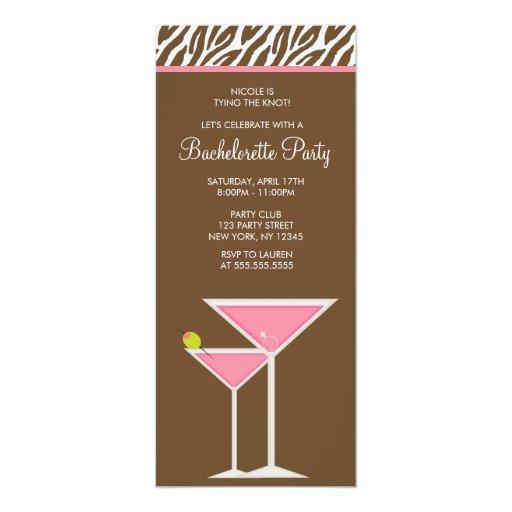 Pink Martini Bachelorette Party 4x9.25 Paper Invitation Card