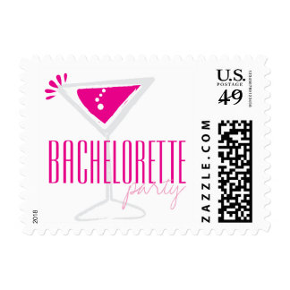 Pink Martini Glass Party Postage Stamps