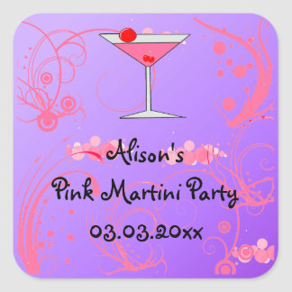 Pink Martini Party Invitation Favor stickers