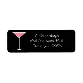 Pink Martini With Engagement Ring Label Custom Return Address Labels