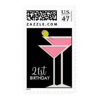 Pink Martinis Postage Stamp