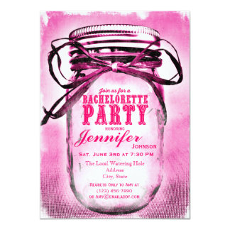 Pink Mason Jar Bachelorette Party Invitations