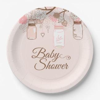 Pink mason jar floral baby girl shower paper plate