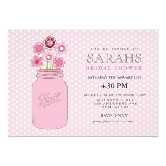 Pink Mason Jar Flowers Bridal Shower Party Invite