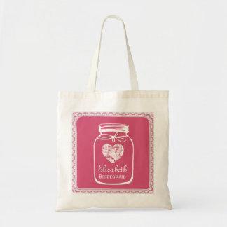 Pink Mason Jar Wedding Tote Bag BRIDESMAID A01