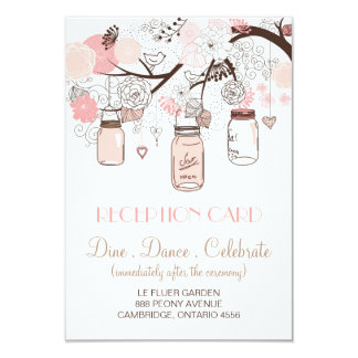 Pink Mason Jars and Love Birds Reception Card