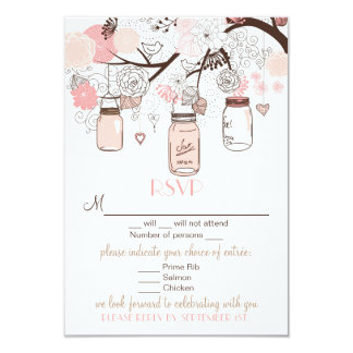 Pink Mason Jars and Love Birds RSVP Wedding Card Personalized Announcement