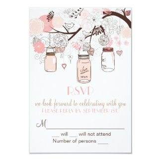 Pink Mason Jars and Love Birds RSVP Wedding Invite