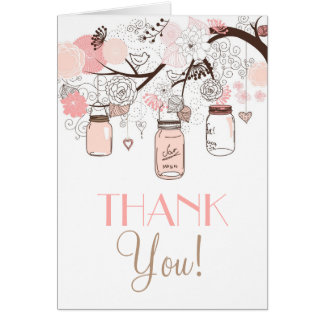 Pink Mason Jars and Love Birds Thank You Card