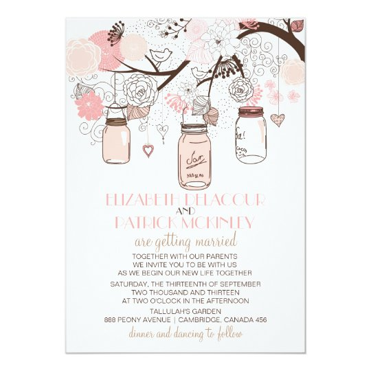 Pink Mason Jars and Love Birds Wedding Invitation
